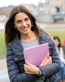 Student containing file in hand